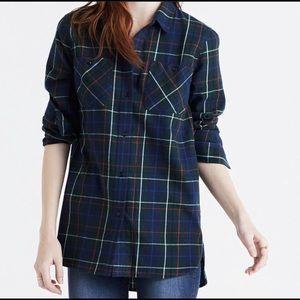 Madewell Blue Green Plaid Flannel sz Small